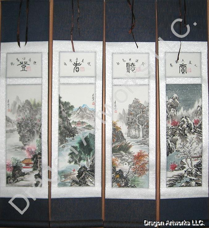 Beautiful Mountain Lake Wall Scroll Set