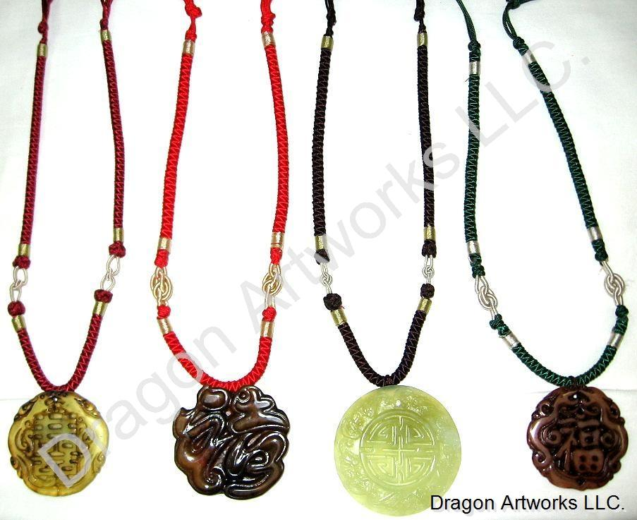 Jade Necklace With Chinese Symbols For Fu And Double Dragon