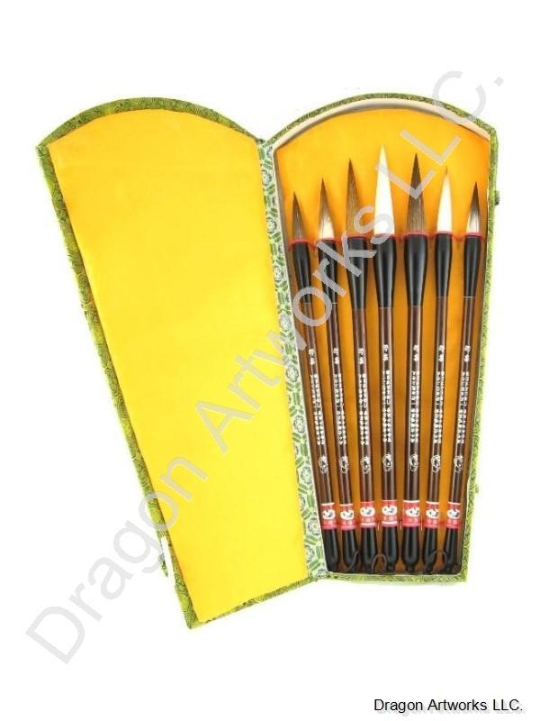 Chinese Calligraphy Brush Set Of Seven Brushes